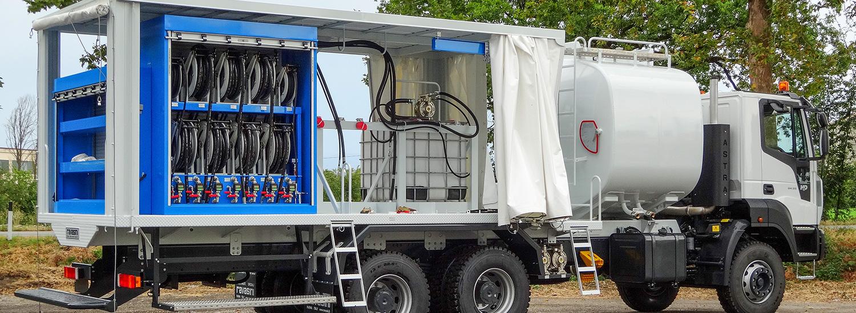 Impianto di lubrificazione su camion con cisterna carburante